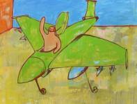 painting, hugo mayer, art, arthur, jet, military, irony, bomb
