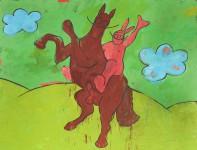 painting, hugo mayer, art, arthur, horse, indian, wild west, marlboro, irony