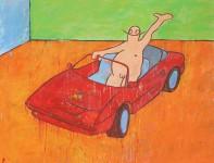 painting, hugo mayer, art, arthur, ferrari, car, irony, status symbol, status