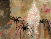 painting, hugo mayer, art, arthur, irony, self reflection, spiders, dream