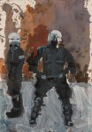 Hugo Mayer, oil painting, police, terror