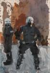 Hugo Mayer, oil painting, police, terror